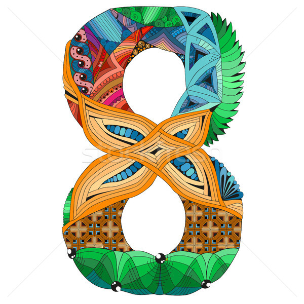 Number eight Zentangle. Vector decorative object Stock photo © Natalia_1947