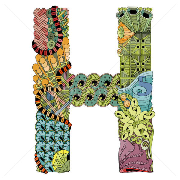 Letter H zentangle. Vector decorative object Stock photo © Natalia_1947