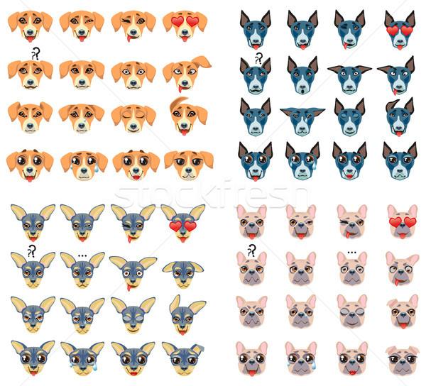Set of different breeds of dogs Emoji Emoticon Expression Stock photo © Natalia_1947
