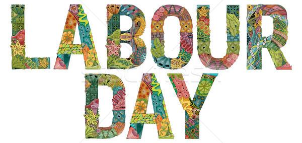 Words Labour day. Vector decorative zentangle object Stock photo © Natalia_1947