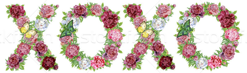 Abbreviation XOXO of watercolor flowers Stock photo © Natalia_1947