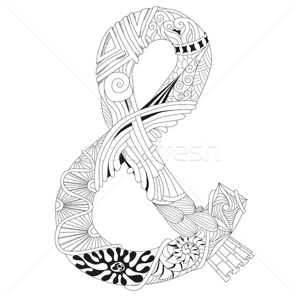 Hand drawn zentangle ampersand for coloring page. Stock photo © Natalia_1947
