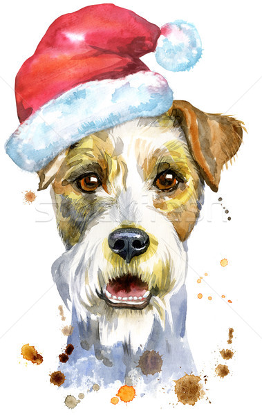 Watercolor portrait of airedale terrier dog with Santa hat Stock photo © Natalia_1947