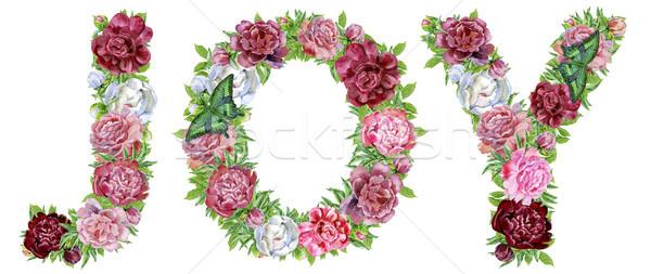 Word Joy of watercolor flowers Stock photo © Natalia_1947
