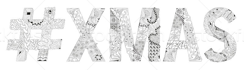 Abbreviation Xmas with hashtag for coloring. Vector decorative zentangle object Stock photo © Natalia_1947