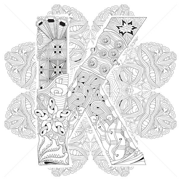 Mandala with letter K for coloring. Vector decorative zentangle Stock photo © Natalia_1947