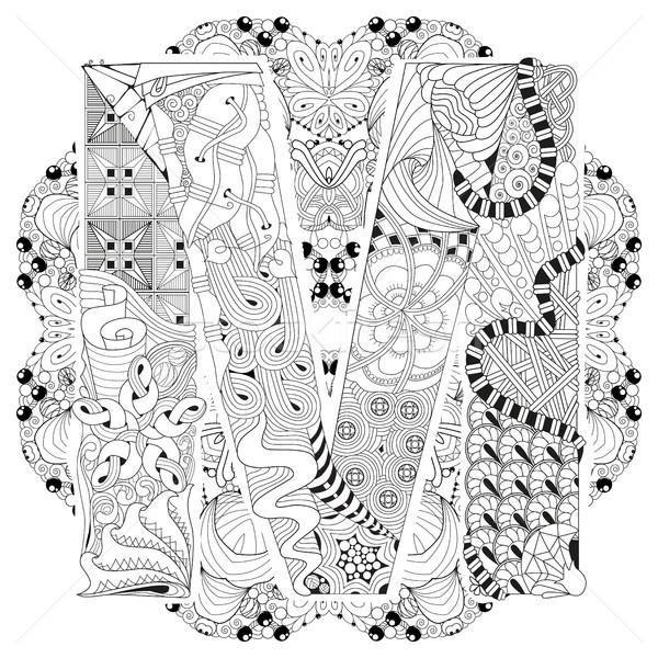 Mandala mektup m vektör dekoratif sanat dizayn Stok fotoğraf © Natalia_1947