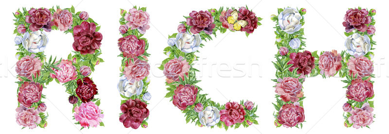 Stock photo: Word RICH of watercolor flowers