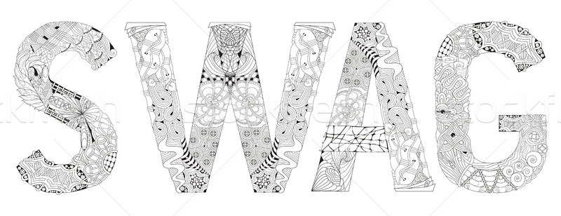 Stock photo: Word SWAG with hashtag for coloring. Vector decorative zentangle object