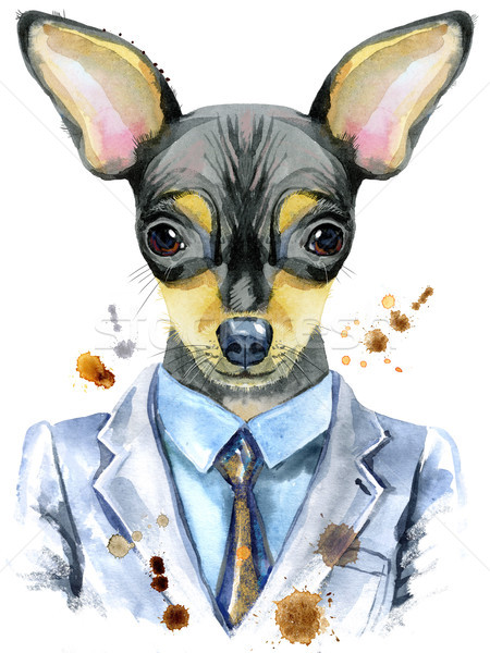 Watercolor portrait of toy terrier in a suit Stock photo © Natalia_1947