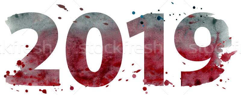 Watercolor new year 2019 Stock photo © Natalia_1947