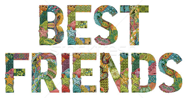 Palabras mejor amigo vector decorativo objeto arte Foto stock © Natalia_1947