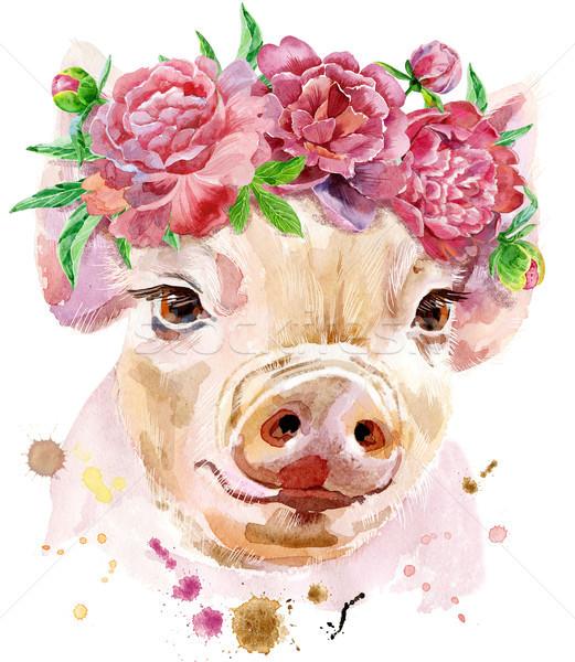 Foto stock: Acuarela · retrato · mini · cerdo · hermosa · corona