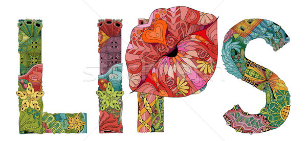 Stock photo: Word LIPS with lips silhouette . Vector decorative zentangle object