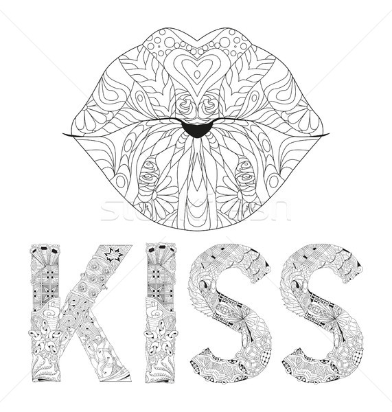 Stock photo: Word KISS with lips silhouette for coloring. Vector decorative zentangle object