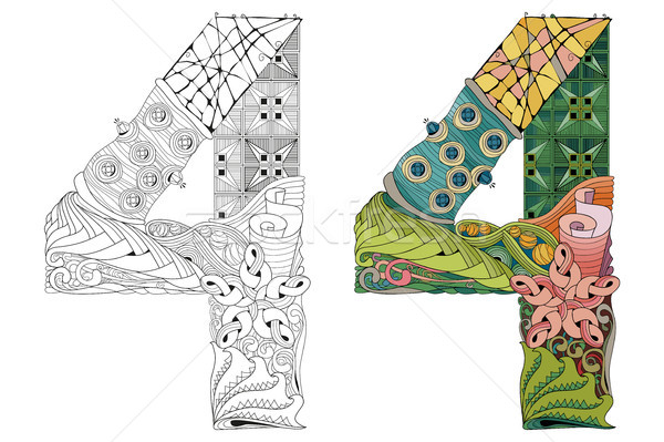 Number four zentangle for coloring. Vector decorative object Stock photo © Natalia_1947