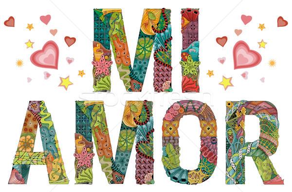 Words MI AMOR. My Heart in Spanish. Vector decorative zentangle object Stock photo © Natalia_1947