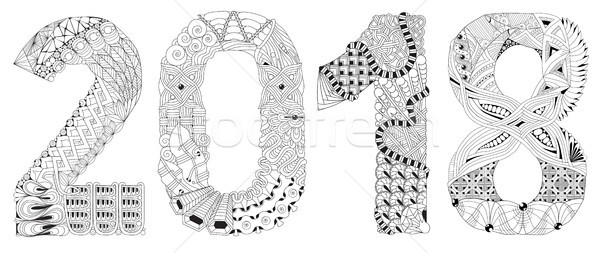 Number 2018 Zentangle. Vector decorative object Stock photo © Natalia_1947