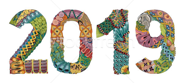 Number 2019 Zentangle. Vector decorative object Stock photo © Natalia_1947