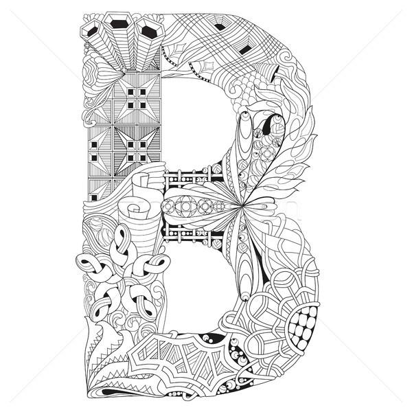 Letter B for coloring. Vector decorative zentangle object Stock photo © Natalia_1947