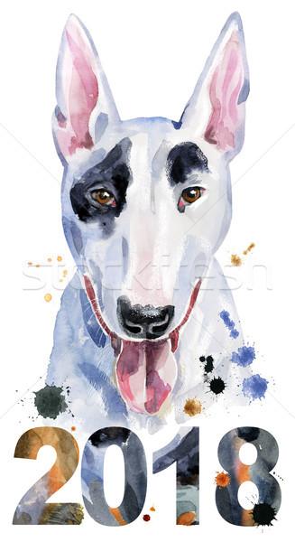 水彩画 肖像 牛 テリア かわいい 犬 ストックフォト © Natalia_1947