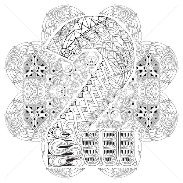 Mandala with numero two for coloring. Vector decorative zentangle Stock photo © Natalia_1947