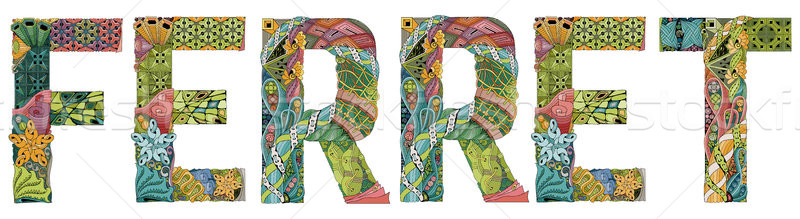 Word FERRET. Vector decorative zentangle object Stock photo © Natalia_1947