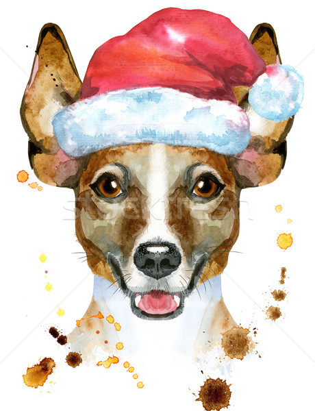 Watercolor portrait of jack russell terrier with Santa hat Stock photo © Natalia_1947