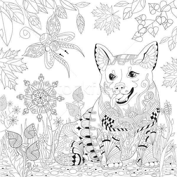 Zentangle stylized dog. Hand Drawn lace vector illustration Stock photo © Natalia_1947