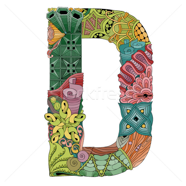 Letter D zentangle. Vector decorative object Stock photo © Natalia_1947