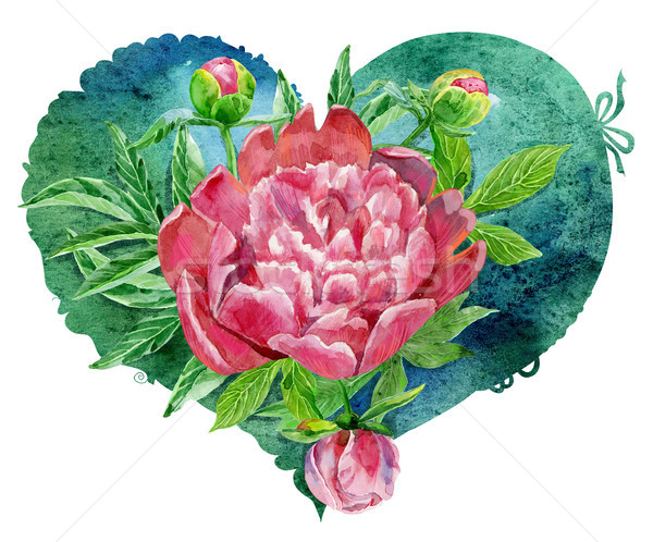watercolor green heart with pink peonies Stock photo © Natalia_1947