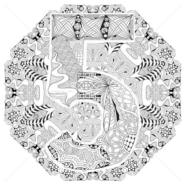Mandala with numero five for coloring. Vector decorative zentangle Stock photo © Natalia_1947