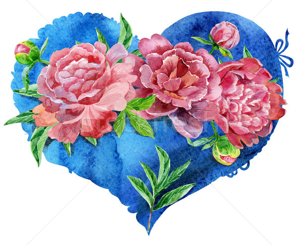 watercolor blue heart with red peonies Stock photo © Natalia_1947