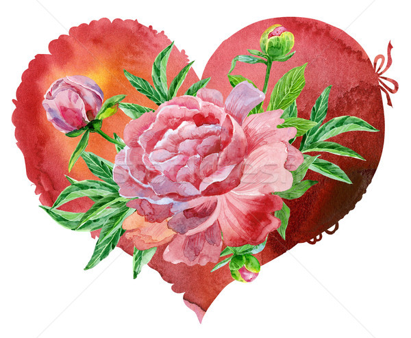watercolor red heart with pink peonies Stock photo © Natalia_1947