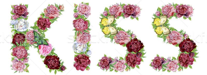 Palabra beso acuarela flores aislado dibujado a mano Foto stock © Natalia_1947
