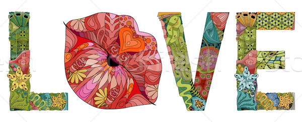 Stock photo: Word LOVE with lips silhouette. Vector decorative zentangle object