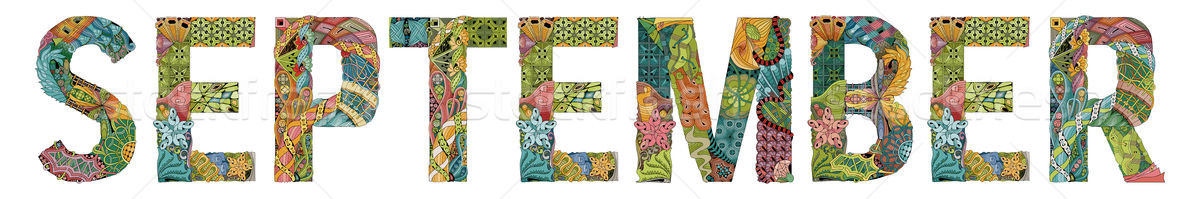 Word SEPTEMBER. Vector decorative zentangle object Stock photo © Natalia_1947