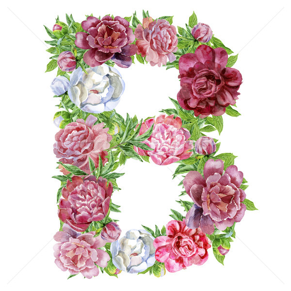 Letter B of watercolor flowers Stock photo © Natalia_1947