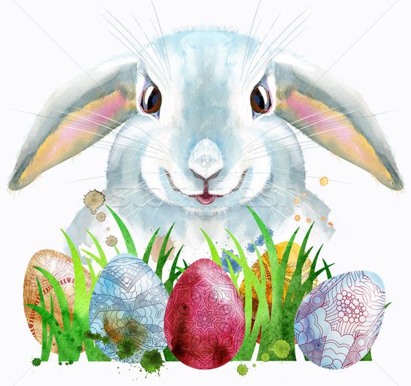 Watercolor illustration of a white rabbit with eggs and grass Stock photo © Natalia_1947