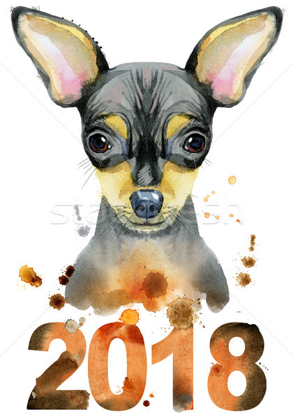Watercolor portrait of toy terrier. Symbol of the year 2018 Stock photo © Natalia_1947