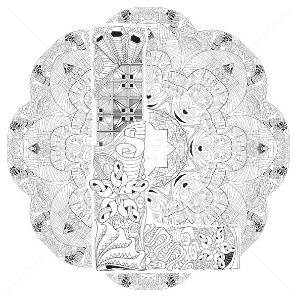 Mandala with letter L for coloring. Vector decorative zentangle Stock photo © Natalia_1947
