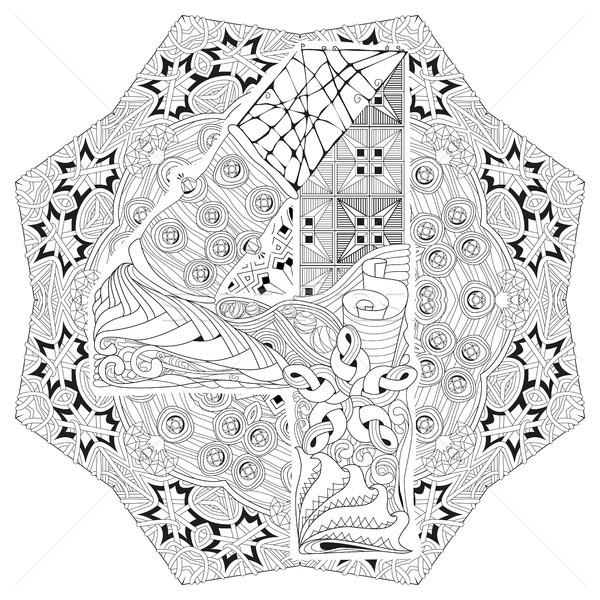 Mandala cztery wektora dekoracyjny sztuki projektu Zdjęcia stock © Natalia_1947