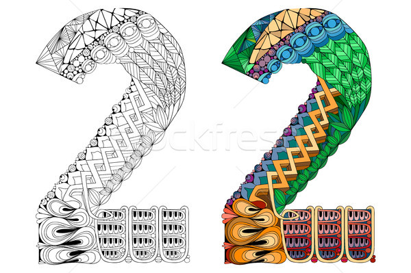Number two zentangle for coloring. Vector decorative object Stock photo © Natalia_1947