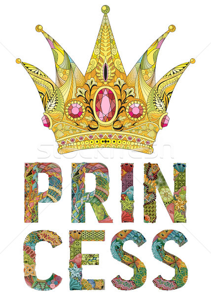 Zentangle stylized crown with word princess. Hand Drawn lace vector illustration Stock photo © Natalia_1947