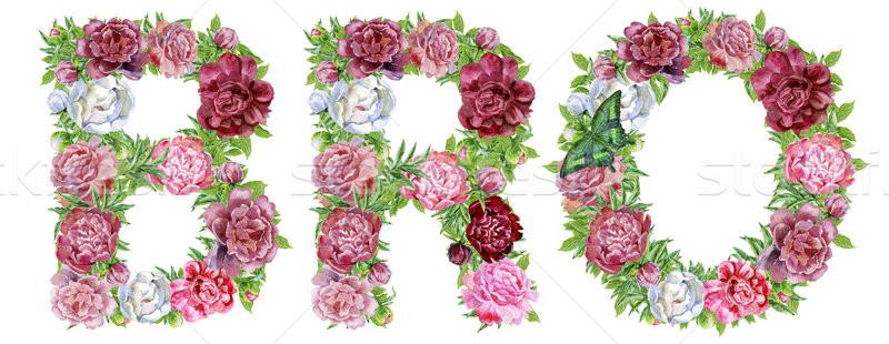 Word BRO of watercolor flowers Stock photo © Natalia_1947
