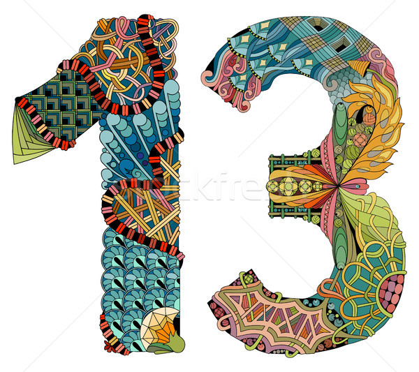 Number thirteen Zentangle. Vector decorative object Stock photo © Natalia_1947