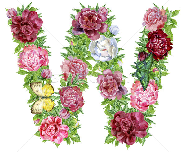 Letter W of watercolor flowers Stock photo © Natalia_1947