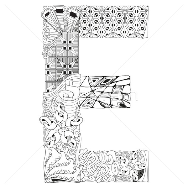 Letter E for coloring. Vector decorative zentangle object Stock photo © Natalia_1947