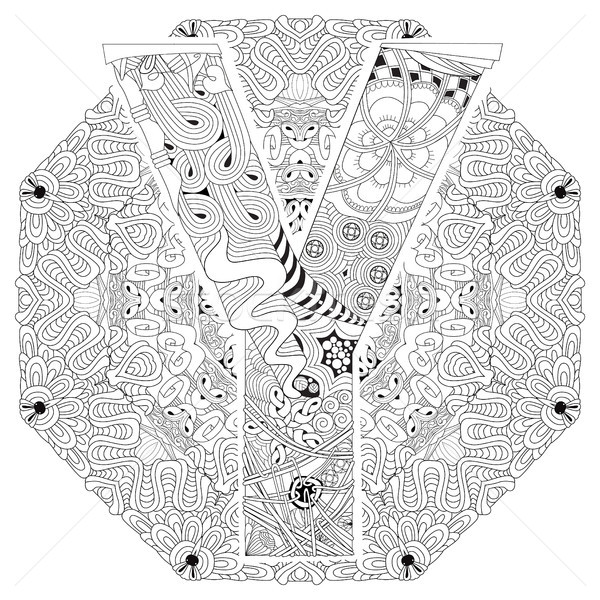 Mandala with letter Y for coloring. Vector decorative zentangle Stock photo © Natalia_1947