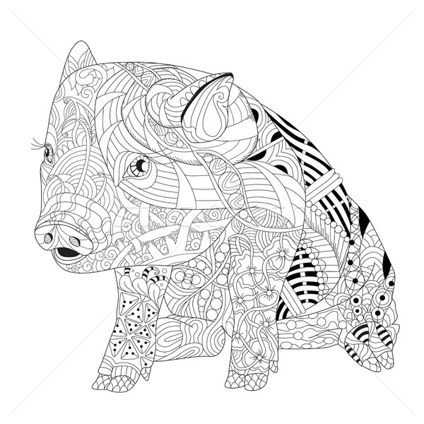 Stock photo: Piggy coloring book for adults vector